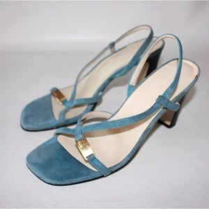 Enzo Angiolini Shoes - Enzo Angiolini Blue Suede Square Evening Sandals